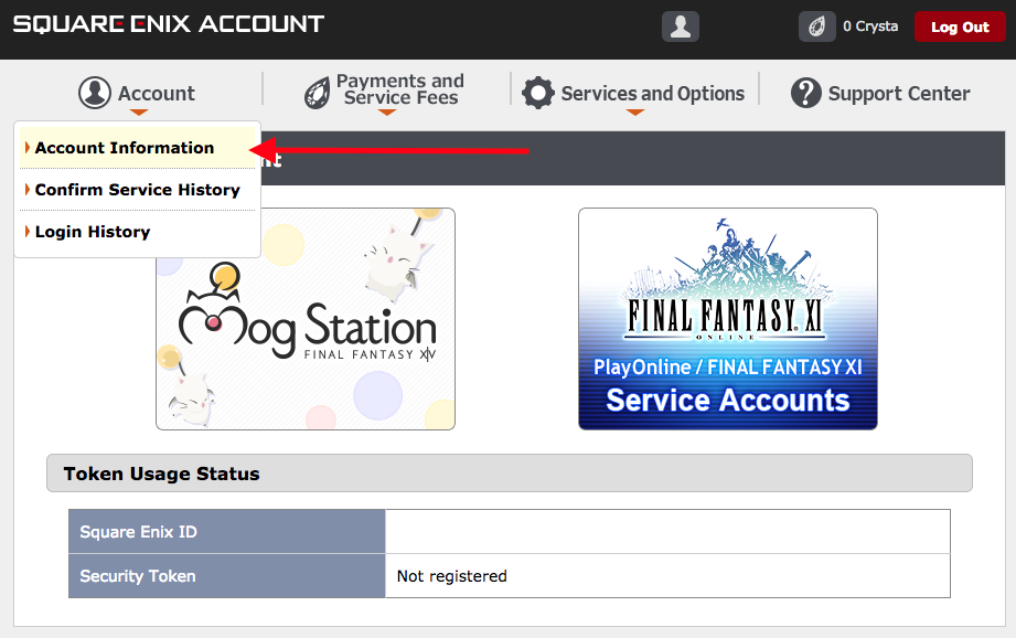 log into square enix account